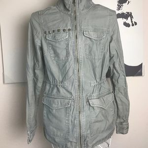 H&M Divided Olive Green Collared Utility Sz 6 Zip